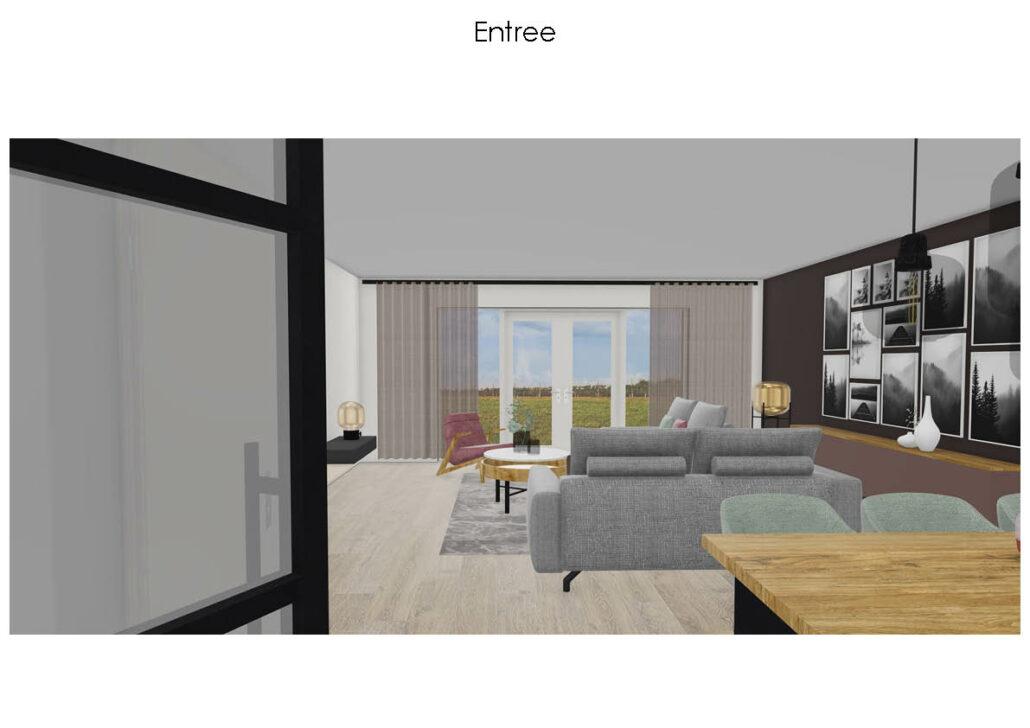 Moderne woning interieur, geeridee, 3d interieurontwerp