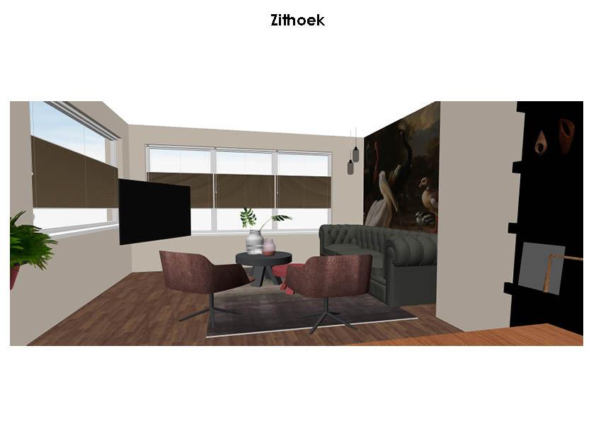 geeridee interieurontwerp - pelikaan in woonkamer - kunst woonkamer - kunst behang